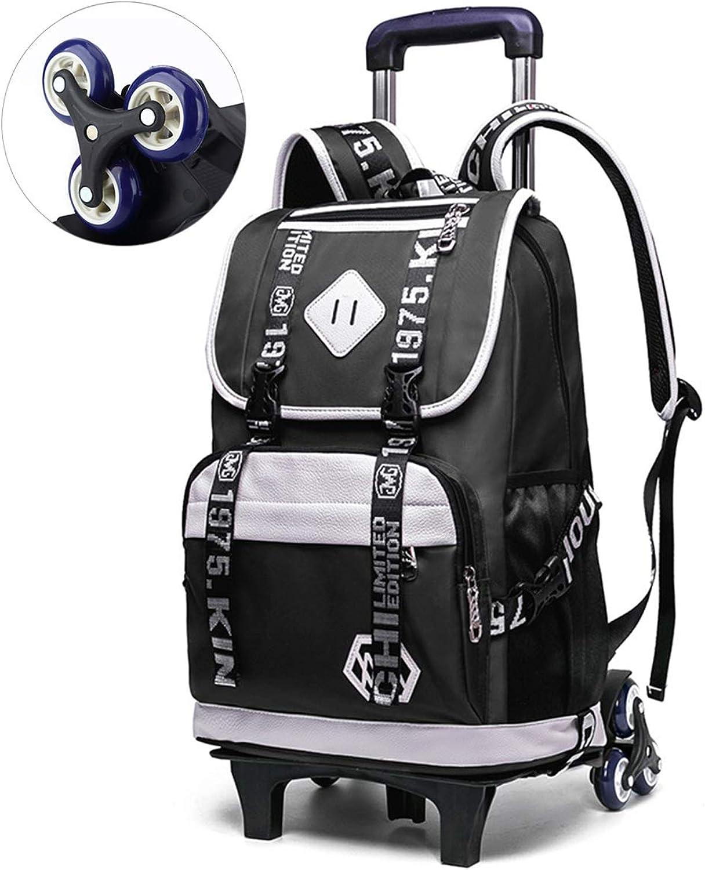 Étudiants 6 tours sac de transport en nylon imperméable à l'eau de tissu en nylon roue d'escalade 3-6 ans Garçon 8-12 ans sac de voyage élève, 20L  35L capacité de poche (2 couleurs),noir