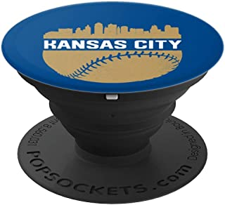 Vintage Downtown Kansas City MO Skyline Baseball - PopSockets Grip and Stand for Phones and Tablets
