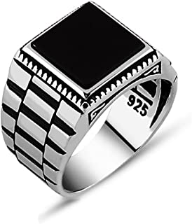 Mens Solitaire Silver Rings 925 Sterling Men's Jewelry with Black Onyx Stone