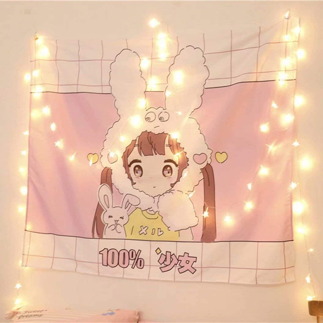 FJMM Special Campaign Cartoon Lovely Girl Tapestry Wall Hanging OFFicial site Pri Home 3D Decor