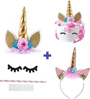 Prime Arts USA   3D Unicorn Cake Topper with Eyelashes and Headband   DIY Unicorn Party Supplies Cake Decoration Kit for Birthday, Baby Shower, Wedding, Etc.