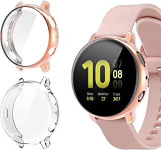 [2 Pack]Case for Samsung Galaxy Watch Active 2 40mm,All-Around TPU Anti-Scratch Flexible Screen Protector Case Soft Protec...