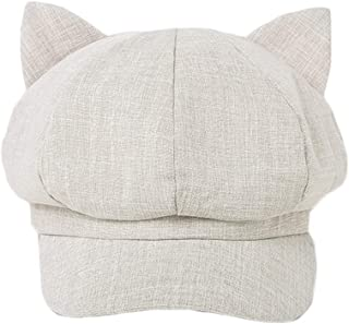 Hats Outdoor Sports Cap Berets Sun Protection for Women Cute Cat Ear Style Women's Cap Fashion (Color : Gray, Size : M)