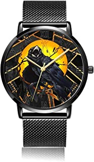 Customized Watercolor Floral Skull Wrist Watch, Black Steel Watch Band Black Dial Plate Fashionable Wrist Watch for Women or Men