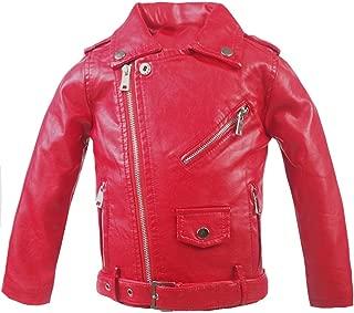 Little Girls' Classic Motorcycle Faux Leather Jacket Zipper Moto Coat with Belt