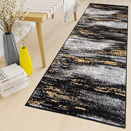 Tapiso Maya Teppich Läufer Meterware Kurzflor Wohnzimmer Flur Küche Modern Brücke Grau Gelb Schwarz Verwischt Meliert Design ÖKOTEX 70 x 100 cm