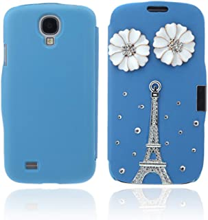 Flip Leather Bling Flower Case Cover PU Leather for Samsung Galaxy S4 i9500 Blue