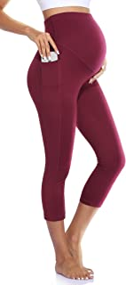 Quinee Maternity Yoga Pants for Women High Waisted Capris Leggings with Pockets