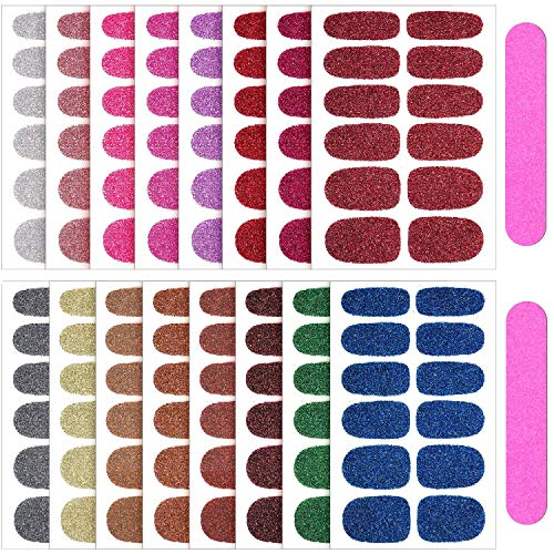 16 Sheets Nail Polish Stickers & 2 Pieces Nail File, Glitter Nail Wraps, Self-Adhesive Nail Art Decals Strips in Solid Colors for Women, Girls Manicure DIY Nail Art Decoration (Retro Color)