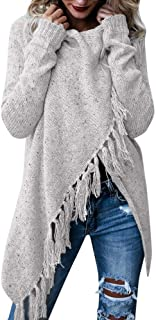 Seaintheson Womens Sweater, Women Stripes Poncho Tassels Slash Gradient Shawl Hem Fringe Tops Loose Pullover