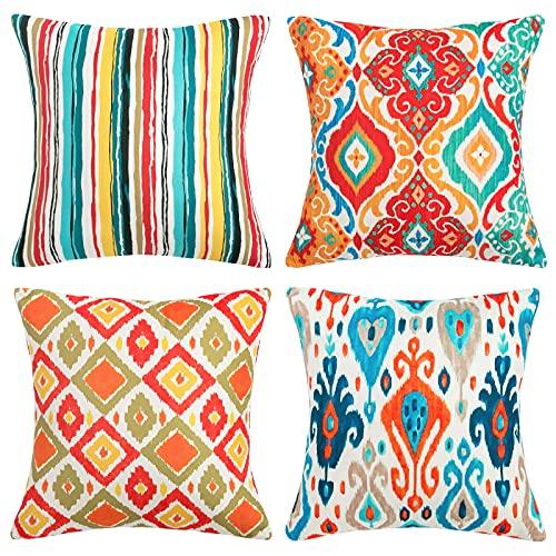 Pack de 4 Funda de Cojín Lino Funda de Almohada Decoración Boho Colorful Throw Pillow Case para Sofá Cama Coche Jardin, 45x45CM