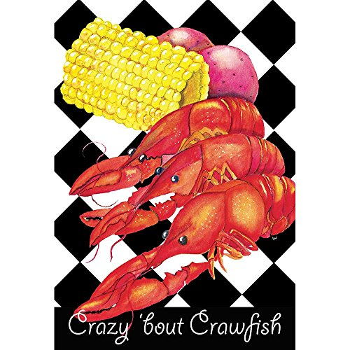 Magnolia Garden Crazy Bout Crawfish Dinner Checkerboard 44 x 30 Rectangular Screenprint Large House Flag