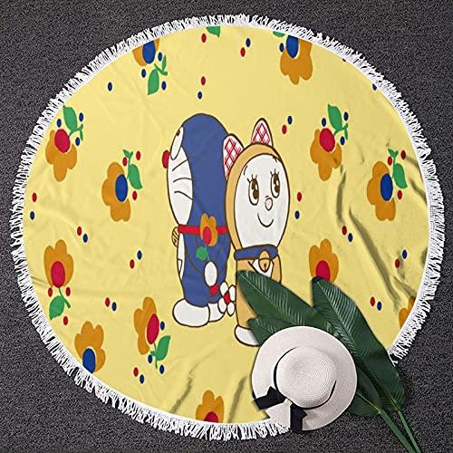 Doraemonround - Toalla de playa redonda ligera a prueba de arena, manta de playa portátil para adultos y niños, alfombra de yoga con borla redonda