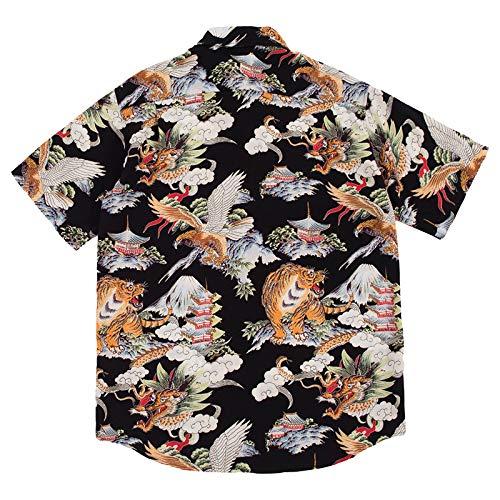 Camisa de Manga Corta Informal con Botones a la Moda para Hombres, Estampado Hawaiano, liviano, Suelto, Transpirable y cmodo en Las Camisas de Playa de Verano XXL