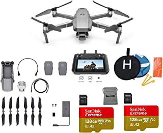 DJI Mavic 2 Pro with DJI Smart Controller Drone Collapsible Quadcopter Bundle with 2 Batteries, 2X 128GB SD Card Supports 4K Video, Landing Pad