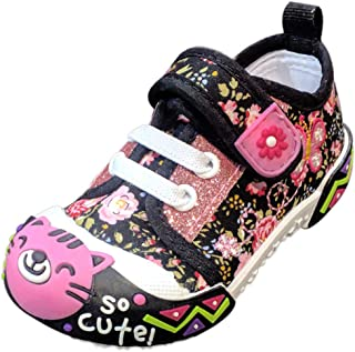 Christmas Time Alice Cute Kitty Cat Bumper Toe Sneaker for Toddlers Little Girls (Assorted Colors)