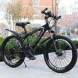 山の自転車、20インチ、22インチ、24インチ、26インチマウンテンバイク、フォークサスペンション、大人の自転車、男の子と女の子の自転車,黒,26 inches