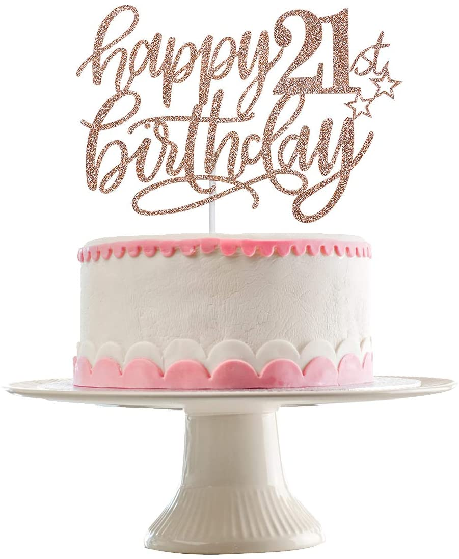 Rose Gold 21st Birthday Decorations 21 Birthday Party Supplies 21 Cake Topper