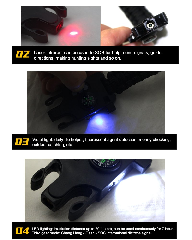 Men's & Women's Outdoor Camping Multi-function Laser Infrared SOS Survival Bracelet Rechargeable Braided LED Flashlight Compass Bracelets Reflector Tools Kit-