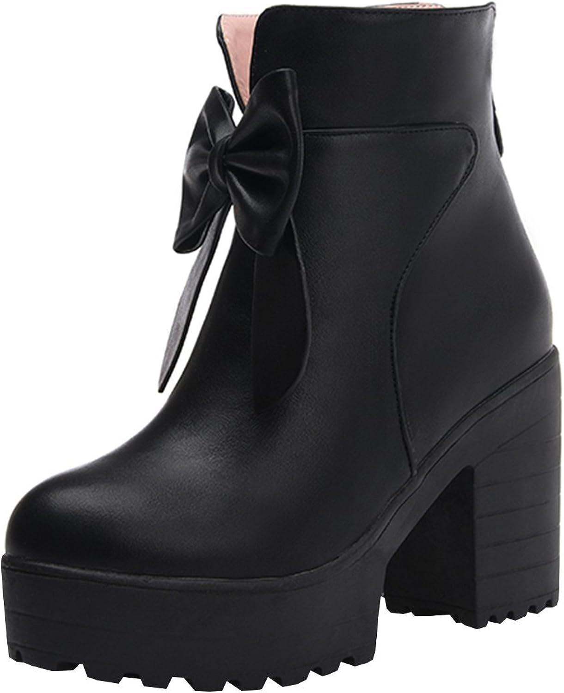 Artfaerie Women's Block High Heels Platform Ankle Boots Faux Fur Cute Booties with Bows