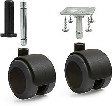 Design61 Set van 4 universele meubelwielen met rem, zwenkwielen, vloerbescherming, wielen met vastzetter, aanschroefplaat ...