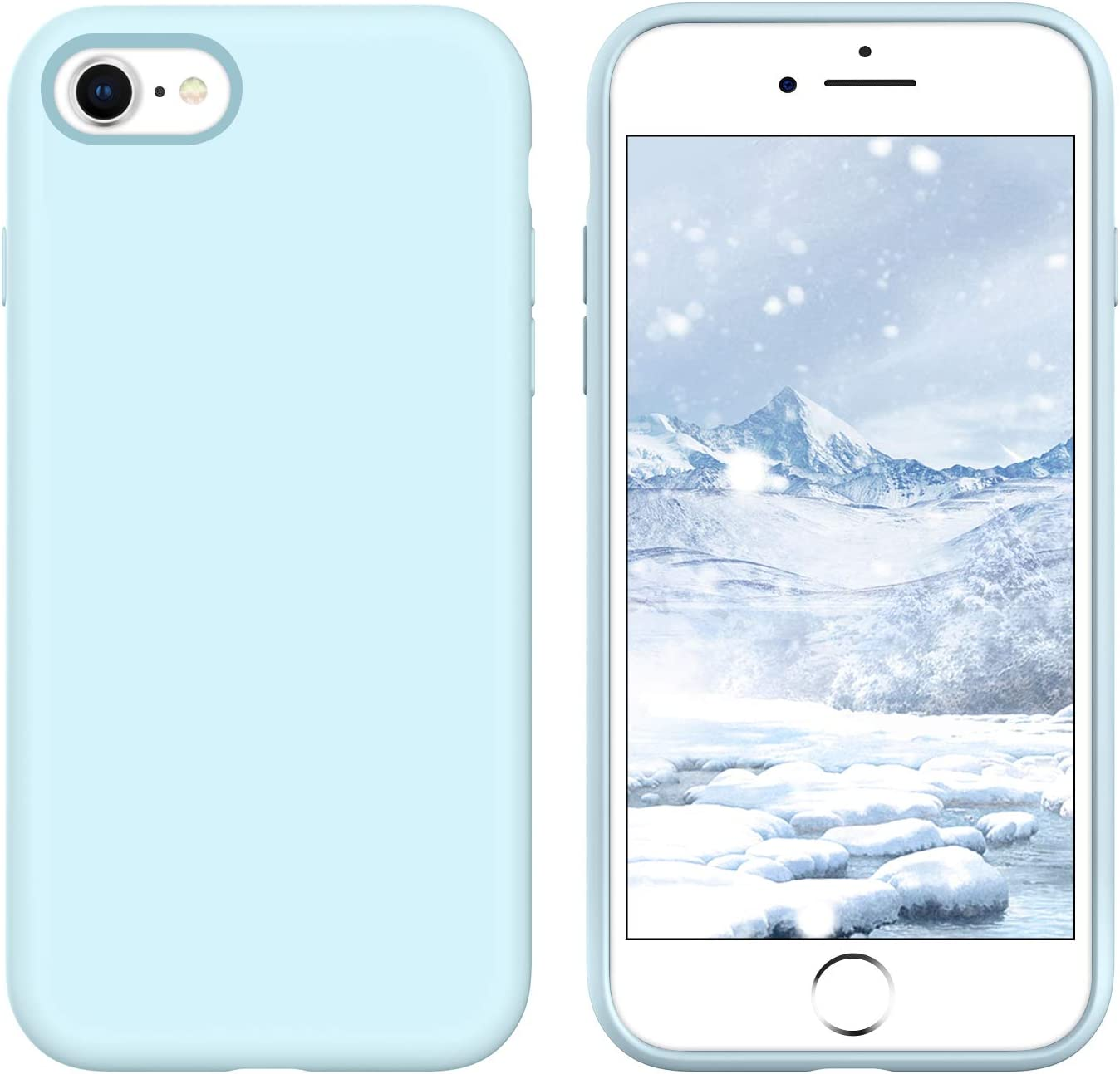 GUAGUA iPhone SE 2020 Case iPhone 8 Case iPhone 7 Case 4.7-inch Liquid Silicone Soft Gel Slim Microfiber Lining Cushion Texture Cover Shockproof Protective Cases for iPhone 8/7/SE 2020 Sky Blue