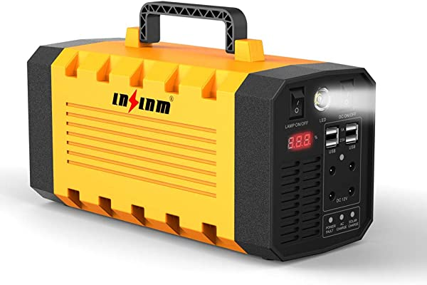 LNSLNM 500W 便携式发电站 288Wh 90000mAh 可再充电锂电池包,带双 AC 110V 插座 UPS 无人机露营 CPAP 紧急太阳能发电机