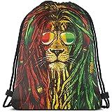 Arvolas Bolsas con cordón para Gimnasio Gafas Rock Fashionm Mochila con cordón de león Mochila Ligera