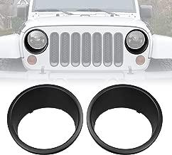 ICarszone ICARS Black Front Headlight Trim Cover Bezels Pair Jeep Wrangler Rubicon Sahara Sport JK Unlimited Accessories 2 Door 4 Door 2007-2018