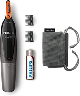 Philips NT3160 Nose Trimmer Series 3000 Comfortable nose, ear & eyebrow Trimmer , Fully washable , AA battery , 2 eyebrow ...