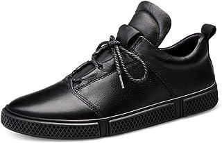 CAIFENG Zapatillas de Moda para Hombres Zapatos para Caminar con Cordones Lace Up Bandas Elásticas Cuero Genuino Anti resb...