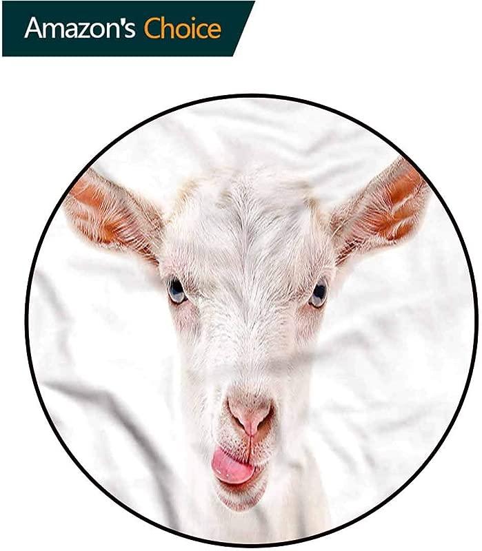 RUGSMAT Goat Non Slip Area Rug Pad Round Animal Photography Mammal Design Non Slip Fabric Round Rugs For Study Room Diameter 24