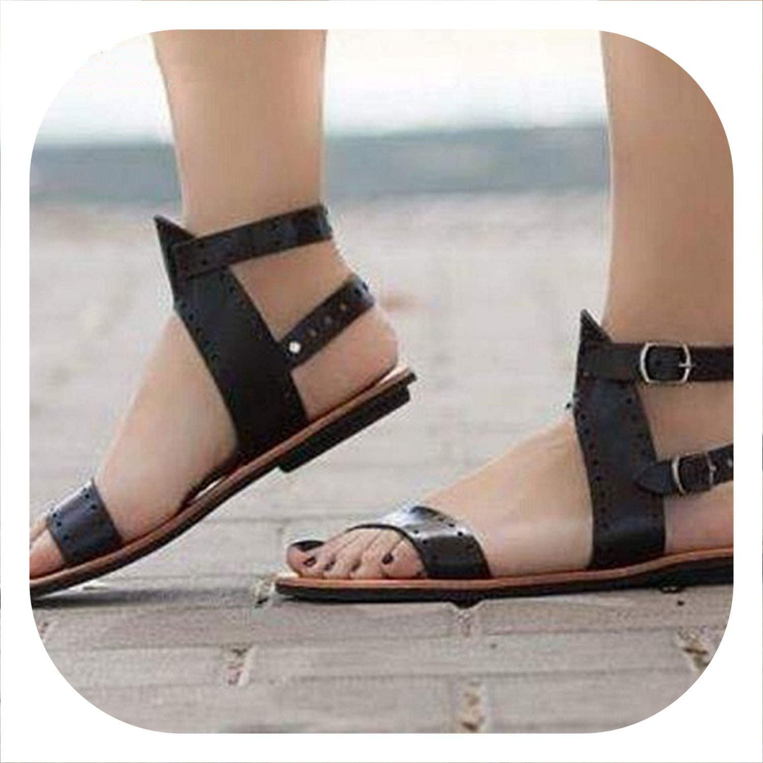 HANBINGPO Punk Leather Flat Sandals Women 2019 Summer Buckle Ankle Strap Comfort Gladiator Plus Size 43