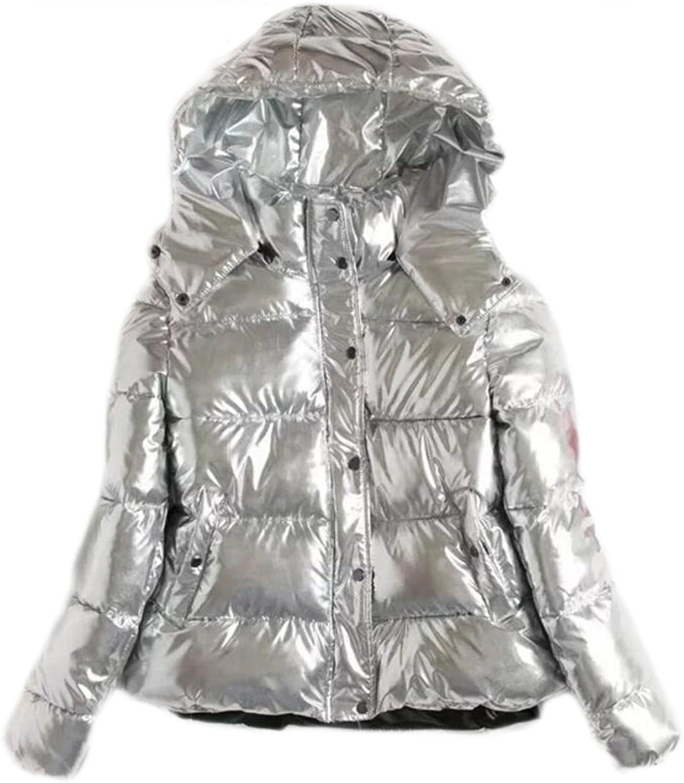 Fensajomon Womens Casual Hooded Thicken Metallic Silver Cotton Coat Overcoat