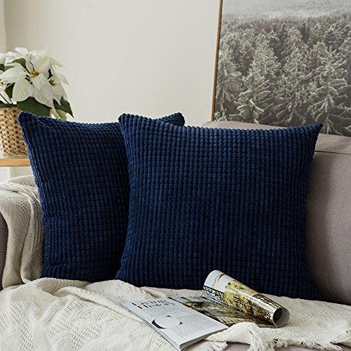 MIULEE Lot de 2 Décoratif Housse de Coussin Douce Taie d\'oreiller Deco  Moderne pour Salon Décoration Canapé Chambre 45 x 45 cm Bleu Foncé