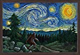 Northwest - Van Gogh Starry Night - Bigfoot (36x24 Giclee Art Print, Gallery Framed, Espresso Wood)