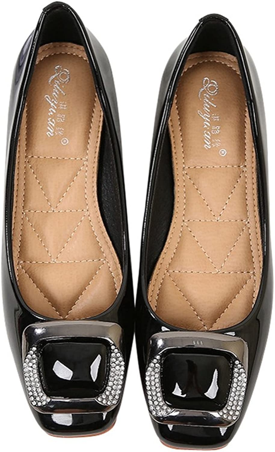 T-JULY Womens Buckle Slip On Loafer Casual Flats Square Toe shoes Moccasins Comfort Boat Dress shoes