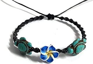 Bracelet Hawaiian Plumeria Flower Sea Turtle Turquoise Bracelet Turtle Hemp Bracelet