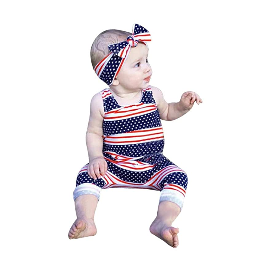 FEITONG 2018 Toddler Baby Boys Girls Stars Striped Rompers Jumpsuit + Headband 4th of July Outfits Set