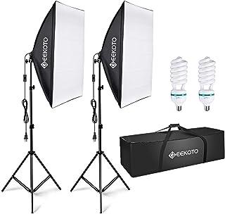 GEEKOTO Softbox Lighting, Video Softbox, Photo Softbox, Studio Lights 51cmx71cm, Photography Continuous Softbox Lighting K...