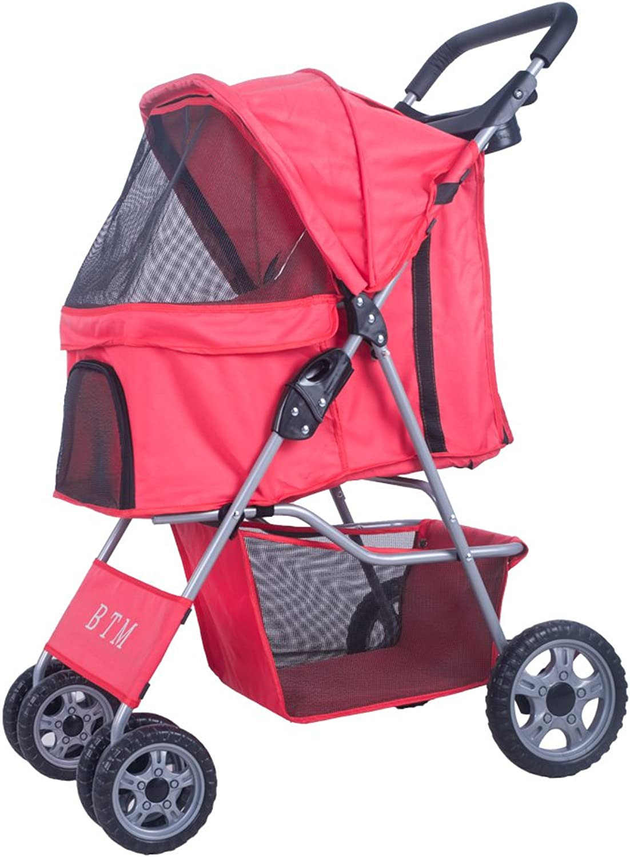 BTM Pet Travel Stroller Dog Puppy Pram Jogger Cat Pushchair with 4 Swivel Wheels (Red)