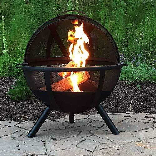 61EEdqDwEHL - SGSG Feuerstelle, multifunktionale Feuerstelle im Freien 30 Zoll runden Holzofen Hinterhof und Patio Firepi für Camping Picknickgarten