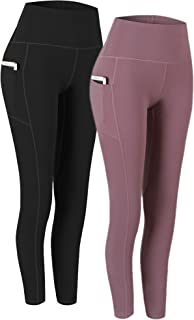 2 Pack High Waist Yoga Pants, Pocket Yoga Pants Tummy Control Workout Running 4 Way..
