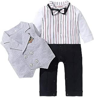 ALLAIBB 2Pcs Toddler Baby Boy Spring Cotton Gentle Style Stripe Romper Vest Suit Set