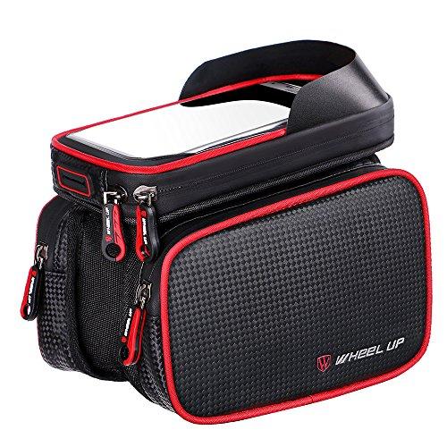 LJ Sport - Sacoche avant pour cadre de vélo et support de smartphone - Sac anti-éclaboussures adapté pour poser un téléphone portable de 15,2 cm et moins, Red piping, taille unique