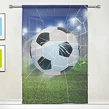 Ians Emporium Une Seule brod/ée Noir Bleu Rouge Enfants gar/çons Enfants Football Panneau de Rideau en Voile/ /139,7/cm L x 182,9/cm L/ /Rideaux /à la Maison