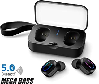 Bluetooth 5.0 True Wireless Earbuds with Charging Case for iPhone Android, 30H Cyclic Playtime Waterproof No Master-Slave TWS Stereo Headphones with mic, in-Ear Earphones Headset for Sport, Black