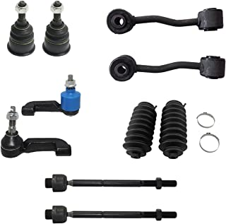10pc Front Lower Ball Joints, Sway Bar Link, Inner Outer Tie Rod & Rack and Pinion Steering Boot Kit for - 2002 2003 2004 Jeep Liberty