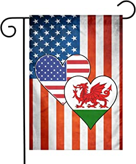 Welsh American Heart Flags Garden Flag Decorative Yard Flags For Celebration,Festival,Home,Outdoor,Garden Decorations 12 X 18 Inch