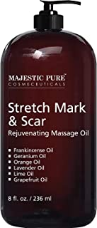 Stretch Mark and Scar Rejuvenating Massage Oil By Majestic Pure, for Softer & Smoother Skin - Visibly Reduces Appearances of Scars and Stretch Marks - 8 fl oz